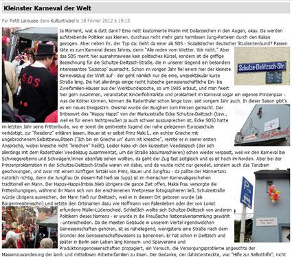 18.02.2012: Kleinster Karneval der Welt