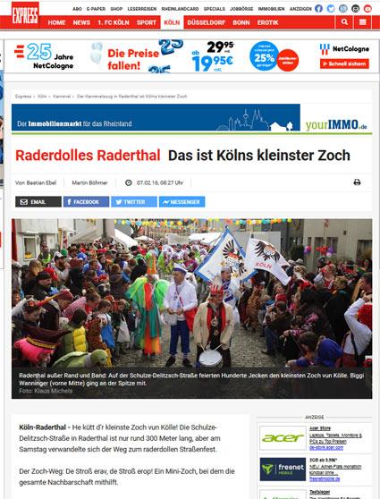 07.02.2016: Raderdolles Raderthal Das ist Kölns kleinster Zoch Kölner Karneval