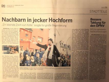 """09.02.2016: Nachbarn in jecker Hochform - """"D'r kleinste Zoch vun Kölle"""" sorgte für große Begeisterung"""