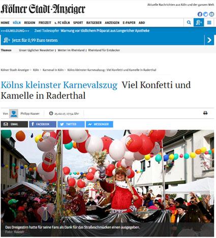 25.02.2017: Kölns kleinster Karnevalszug  Viel Konfetti und Kamelle in Raderthal