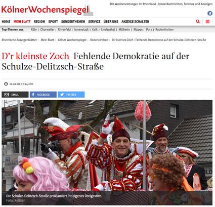 11.02.2018: D'r kleinste Zoch - Fehlende Demokratie auf der Schulze-Delitzsch-Straße