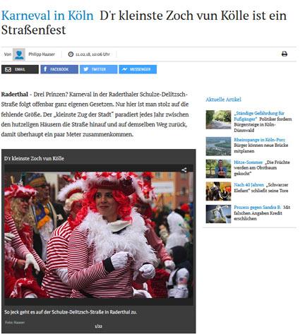 11.02.2018: Karneval in Köln D'r kleinste Zoch vun Kölle ist ein Straßenfest