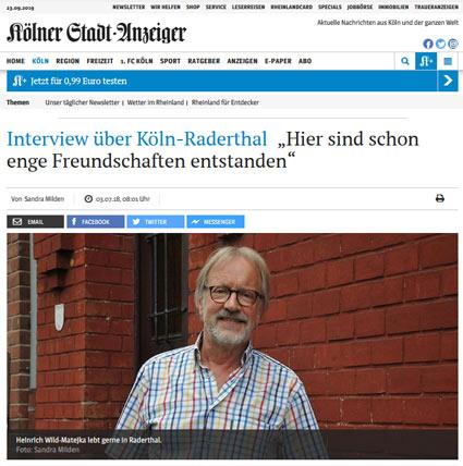"""03.07.2018: Interview über Köln-Raderthal """"Hier sind schon enge Freundschaften entstanden"""""""