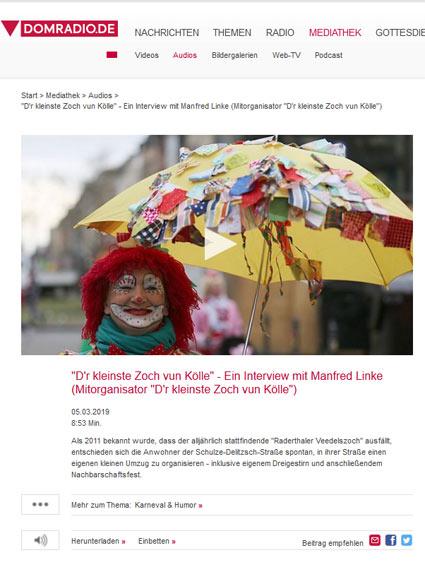 """05.03.2019: """"D'r kleinste Zoch vun Kölle"""" - Ein Interview mit Manfred Linke (Mitorganisator """"D'r kleinste Zoch vun Kölle"""")"""