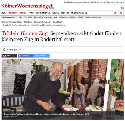04.09.2019: Trödeln für den Zug Septembermarkt findet für den kleinsten Zug in Raderthal statt