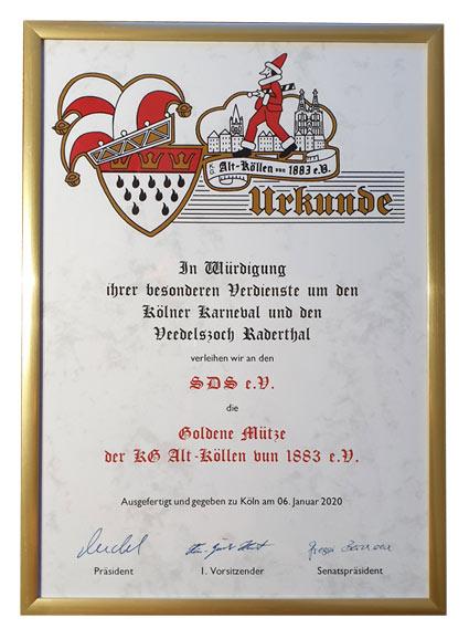 Goldene Mütze - SDS e.V. Urkunde 2020